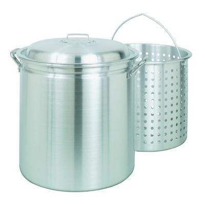 Steamer Stockpot 42 Qt Aluminum with Lid and Basket BY4042