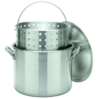 Stock Pot Boiler 160 Qt Aluminum with Lid and Basket BY1600