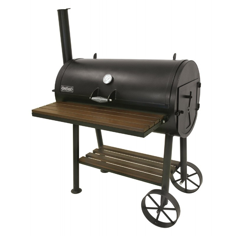 Black Steel Charcoal Smoker Grill 36 x18