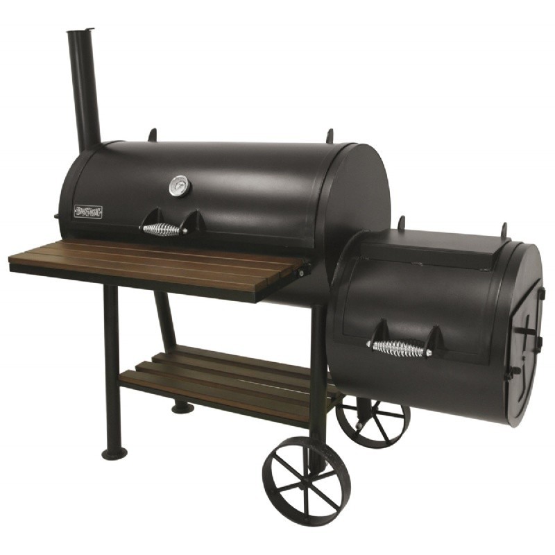 black steel charcoal smoker grill 36 x18 with fire box by500 736 cozydays. Black Bedroom Furniture Sets. Home Design Ideas