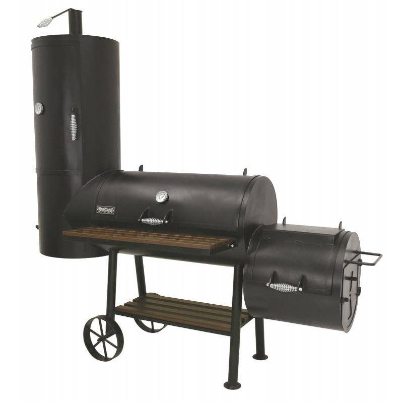 Black Steel Charcoal Smoker Grill 36 x18 with Fire Box and Vertical Smoker