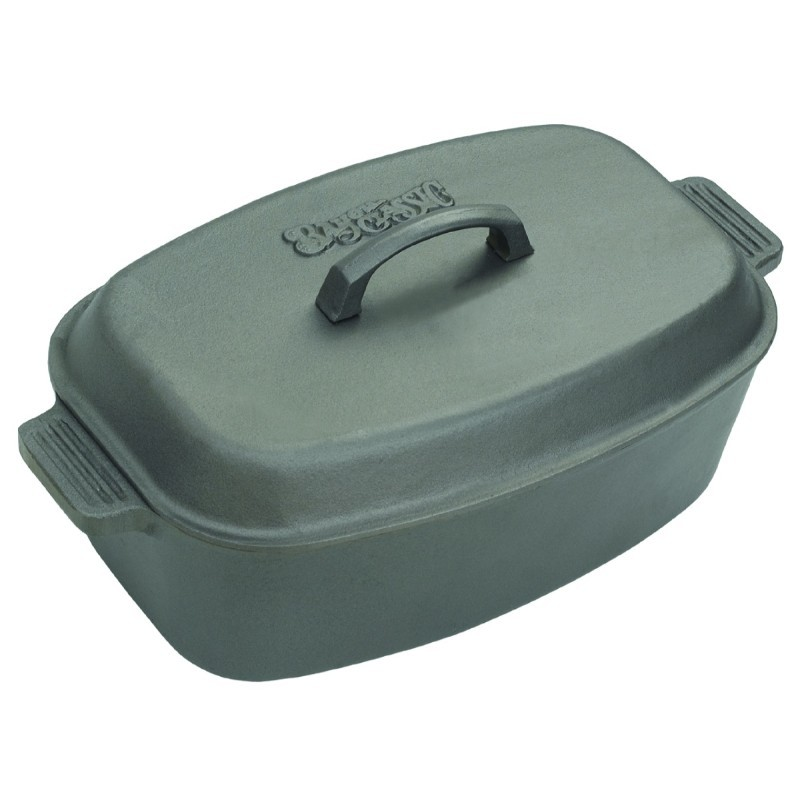 Iron Weed: Bayou Classic 12 Qt Oval Cast Iron Roaster with Domed Lid
