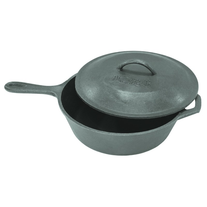 Seasoned Cast Iron Cookware: Bayou Classic 3 Qt Cast Iron Skillet with Lid