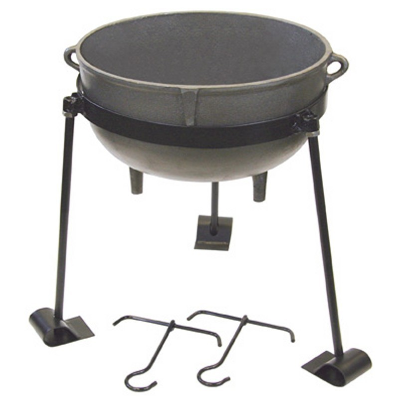Bayou Classic Ci 7410 10 Gal Cast Iron Jambalaya Pot Tripod Stand and 2 Lift Hooks: Bayou Classic 30 gal. Cast Iron Pot Jambalaya Set