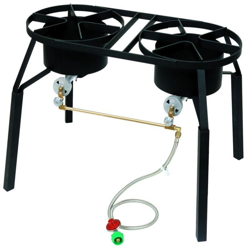 Turkey Fryers with Drain Spouts: Outdoor Gas Burner Dual Stoves High Pressure 15 psi