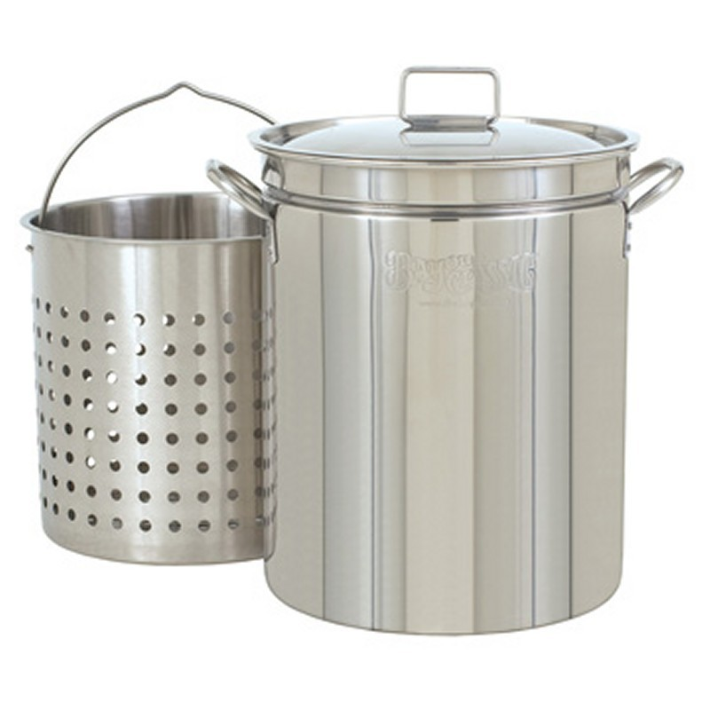 Cookware: Stockpots: Steam Boil Fry Stockpot - 36 Qt Stainless Steel