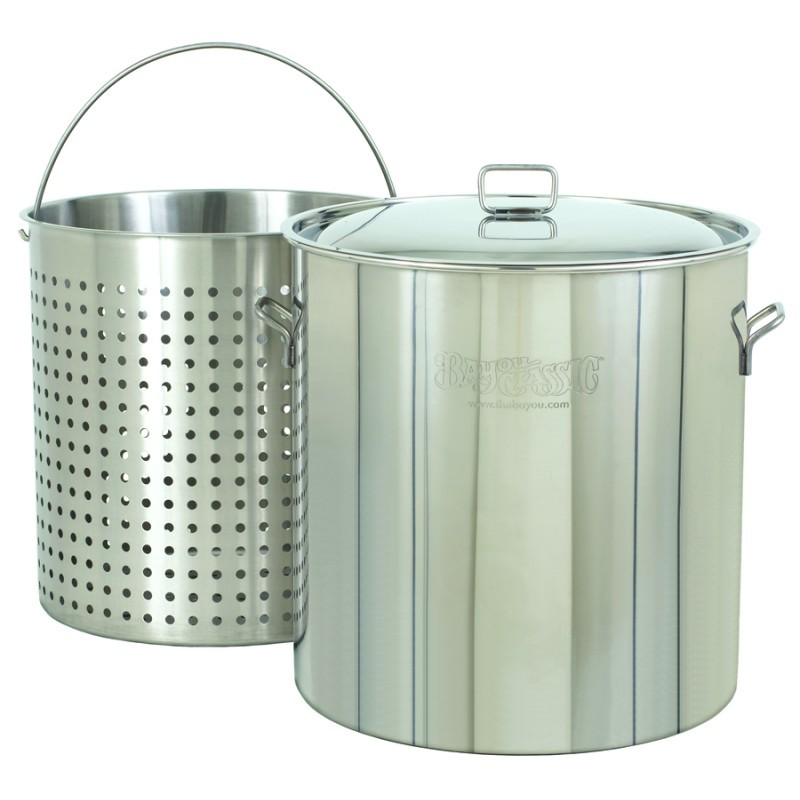 Cookware: Stockpots: Steam Boil Fry Stockpot - Giant 102 Qt Stainless Steel