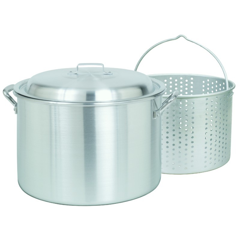 Thermos Turkey Frying Set: Steamer Stockpot / Pasta Pot 24 Qt Aluminum with Lid and Basket