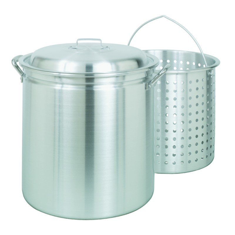 Turkey Fryer Pots, Stock Pots: Steamer Stockpot 42 Qt Aluminum with Lid and Basket