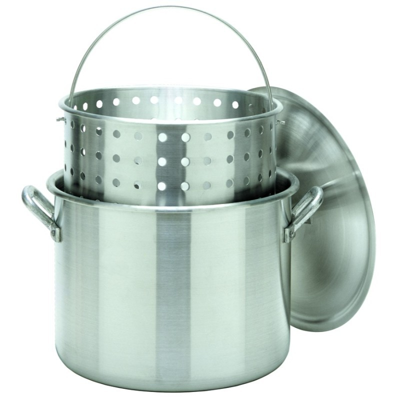 Turkey Fryers with Drain Spouts: Stock Pot 80 Qt Aluminum with Lid and Basket