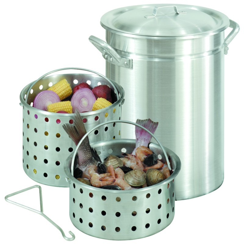 Turkey Fryers with Drain Spouts: Stockpot Steamer 42 Qt Aluminum with Lid and 2 Baskets