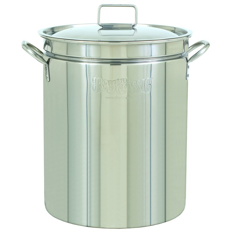 Turkey Fryers with Drain Spouts: Stainless Steel Stock Pot & Lid - 24qt