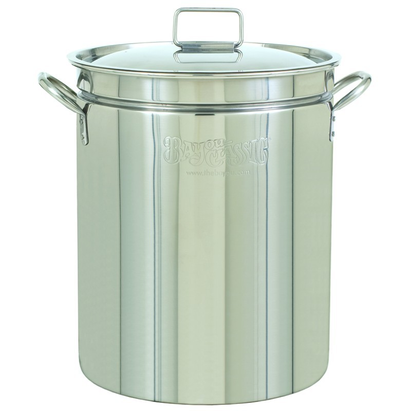 Turkey Fryers with Drain Spouts: Stainless Steel Stock Pot & Lid - 44qt