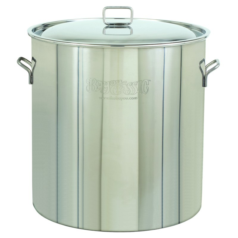 Turkey Fryers with Drain Spouts: Stainless Steel Stock Pot & Lid - 82qt