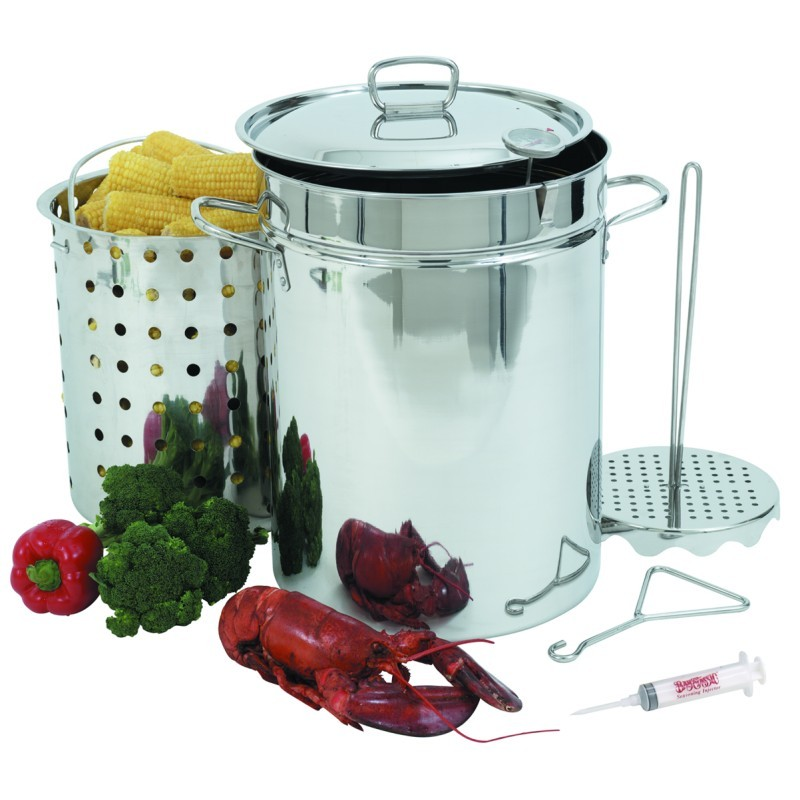 Turkey Fryers with Drain Spouts: Stainless Steel Turkey Fryer Set 32 Qt with Basket & lid