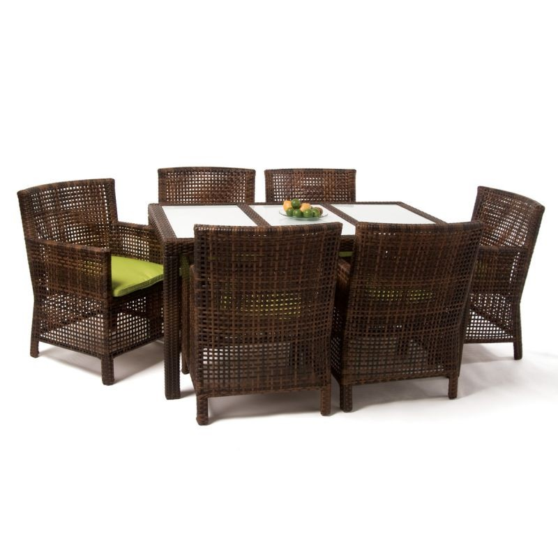 Ibiza Outdoor Patio Wicker Dining Group 7-Piece