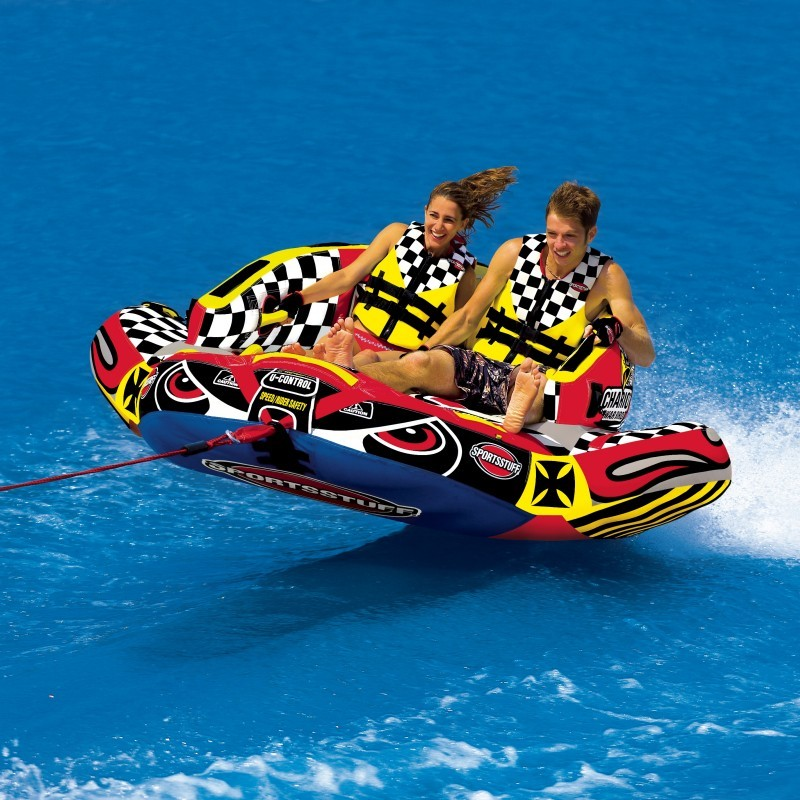 Kid's Inflatable Jet Ski Pool Ride on Toy: Chariot Warbird Towable Raft 2 Riders