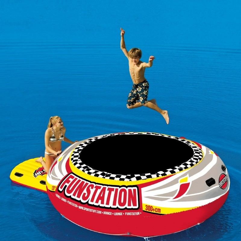 Lake Trampolines, Bouncers, Rafts: Water Bouncer Island Lake Float Funstation 10 Feet