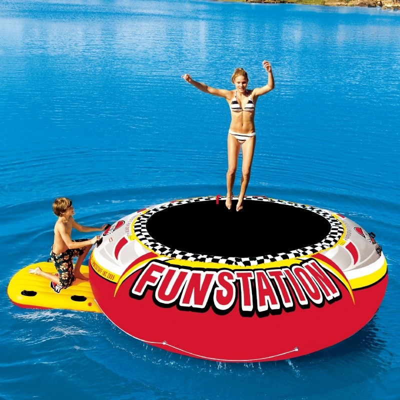 Lake Trampolines, Bouncers, Rafts: Water Bouncer Island Giant Lake Float Funstation 12 Feet
