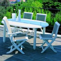 Oval outdoor dining tables, resin, aluminum, wicker