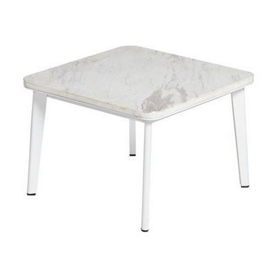 Riba Outdoor Square Side Table with Marble Top TRI40700