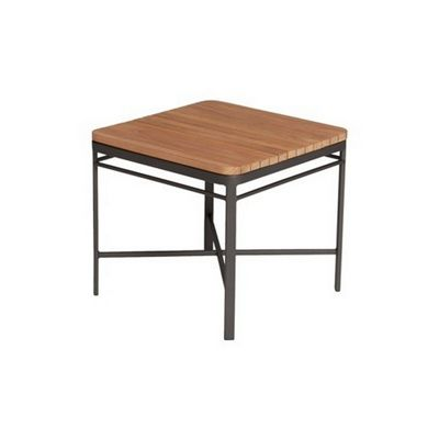 Triconfort 1950 Outdoor Square Side Table with Teak Top TRI72750