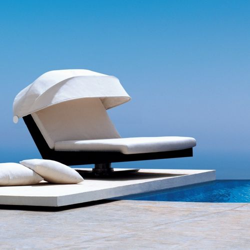 Biarritz Swivel Outdoor Chaise Lounge Double Tri4462