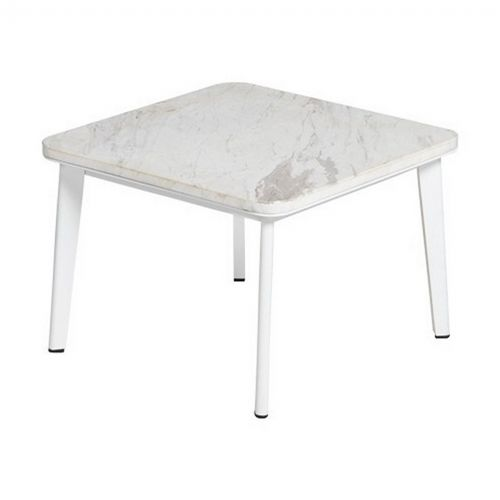 Riba Outdoor Square Side Table With Marble Top Tri40700 Cozydays