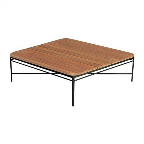 Triconfort 1950 Outdoor Square Center Table with Teak Top TRI72703-726-TM