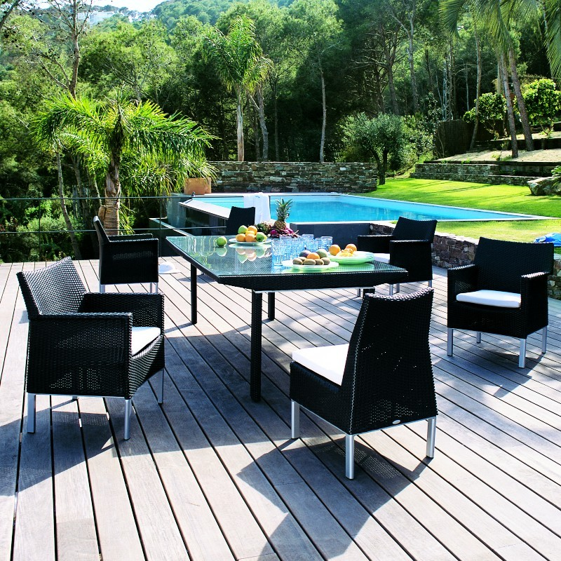 Triconfort Biarritz Outdoor Wicker Dining Set 7 Piece