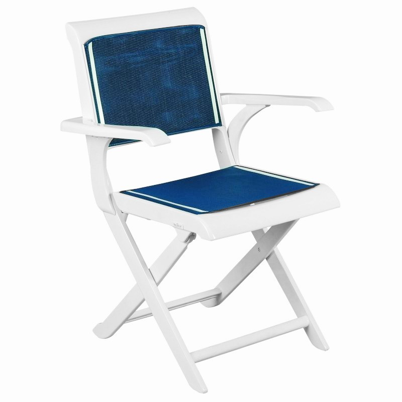 Outdoor Folding Dish Chair: Triconfort Elysee Outdoor Dining Folding Arm Chair with Sling Seat