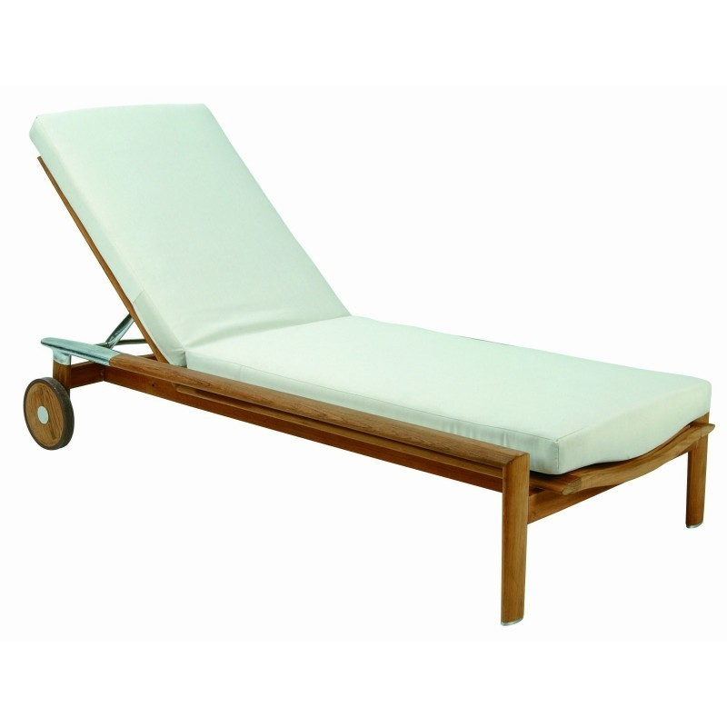 Triconfort Equinox Teak Patio Chaise Lounge With Cushion