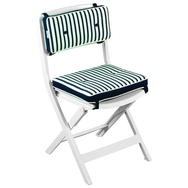 Outdoor Folding Dish Chair: Triconfort Riviera Folding Outdoor Side Chair with Cushion