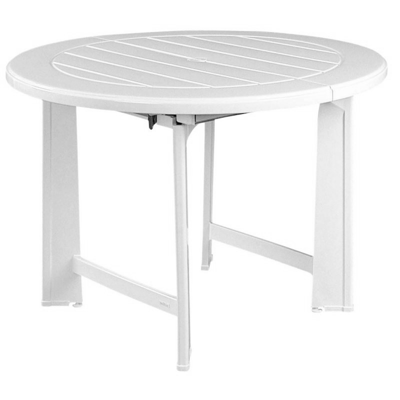 Riviera Round Outdoor Dining Table Extendable : White Patio Furniture
