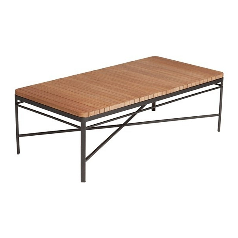 triconfort 1950 outdoor rectangle coffee table with teak top