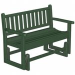 POLYWOOD® Plastic Traditional Garden Bench Glider with arms 48 inches PW-TGG48