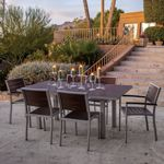 POLYWOOD® Euro Outdoor Dining Set with Silver Frame 7 Piece PW-PWS117-1-11