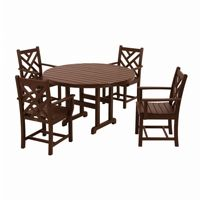 POLYWOOD® Chippendale Round Outdoor Dining Set 5 Piece PW-PWS122-1