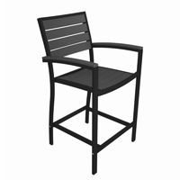 POLYWOOD® Euro Aluminum Outdoor Counter Arm Chair with Black Frame PW-A201-FAB