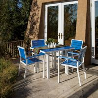 POLYWOOD® Euro Aluminum Square Outdoor Dining Set with White Frame 5 Piece PW-PWS118-1