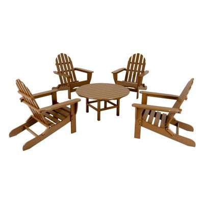 POLYWOOD® Classsic Folding Adirondack 5 Piece Conversation Set Traditional Colors PWS119-1