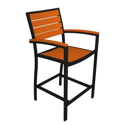 POLYWOOD® Euro Aluminum Outdoor Bar Chair with Black Frame PW-A202-FAB