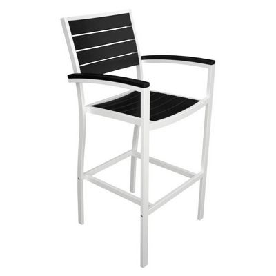 POLYWOOD® Euro Aluminum Outdoor Bar Chair with White Frame PW-A202-FAW