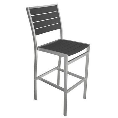 POLYWOOD® Euro Aluminum Outdoor Bar Stool With Silver Frame