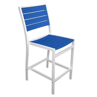 POLYWOOD® Euro Aluminum Outdoor Counter Chair with White Frame PW-A101-FAW