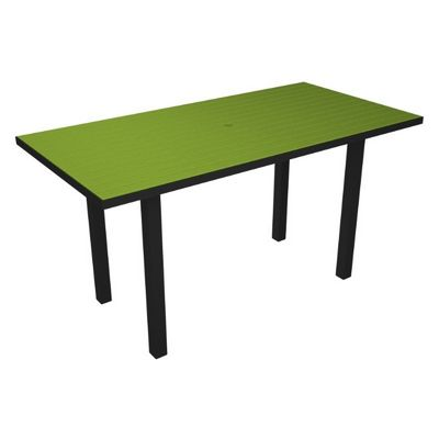 POLYWOOD® Euro Aluminum Rectangle Outdoor Counter Table with Black Frame 36x72 PW-ATR3672-FAB