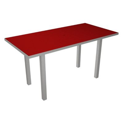 POLYWOOD® Euro Aluminum Rectangle Outdoor Counter Table with Silver Frame 36x72 PW-ATR3672-FAS