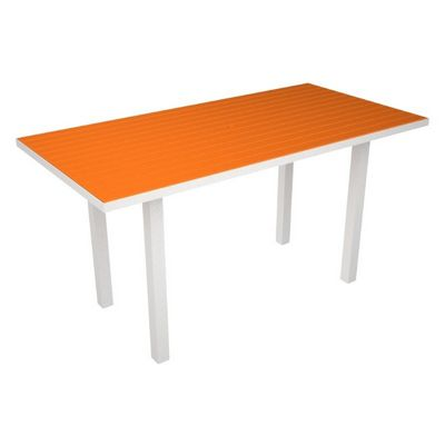 POLYWOOD® Euro Aluminum Rectangle Outdoor Counter Table with White Frame 36x72 PW-ATR3672-FAW