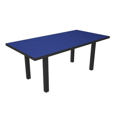 "POLYWOOD® Euro Aluminum Rectangle Outdoor Dining Table with Black Frame 36"" x72"" PW-AT3672-FAB"