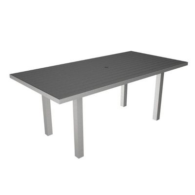 POLYWOOD® Euro Aluminum Rectangle Outdoor Dining Table with Silver Frame 36x72 PW-AT3672-FAS